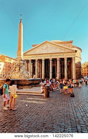 Pantheon And Fountain Of Pantheon In Rome In Italy
