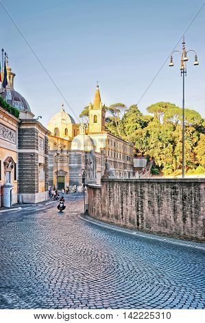 Roman Walls And Piazza Del Popolo In Rome Of Italy