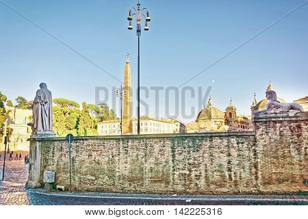 Roman Walls At Piazza Del Popolo In Rome Of Italy