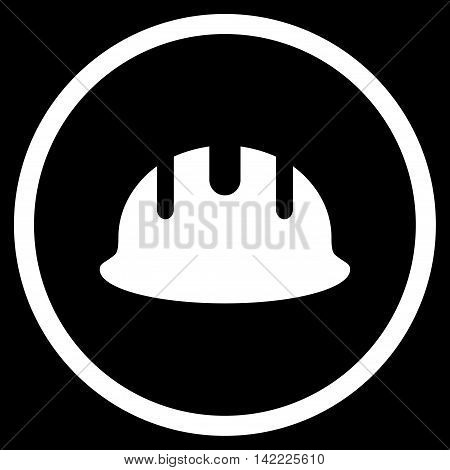 Builder Hardhat vector icon. Style is flat rounded iconic symbol, builder hardhat icon is drawn with white color on a black background.