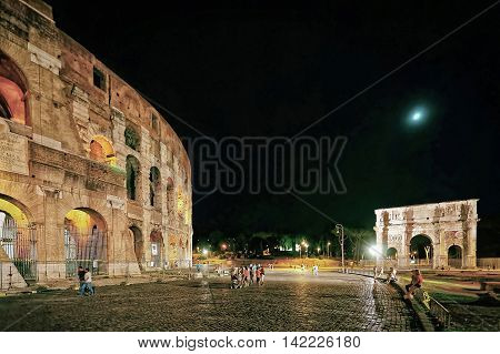 Colosseum In The City Center Of Rome Italy Night