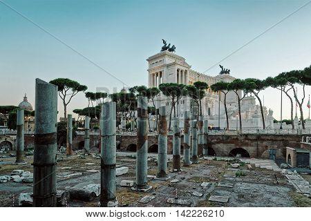 Columns Of Roman Forum Rome In Italy