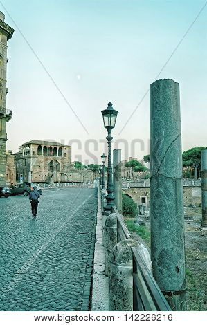 Columns Of Roman Forum In Rome In Italy
