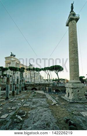 Columns Of Roman Forum In Rome Italy