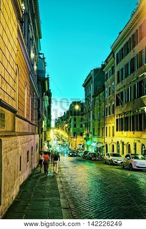 Four Fountains Street In Rome In Italy At Night