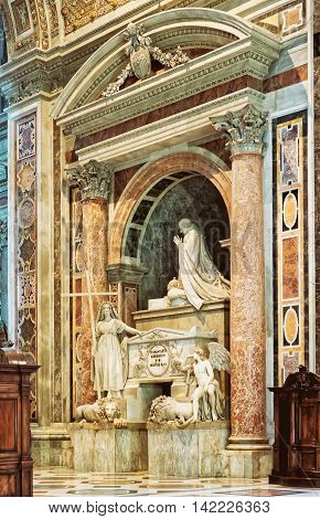 Rome Italy - August 28 2012: Interior of Saint Peter Basilica in Vatican in Italy
