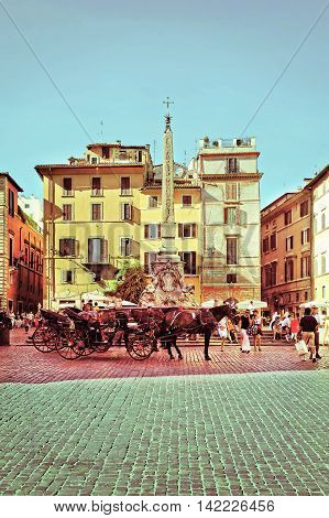Pantheon And Fountain Of Pantheon Of Rome In Italy