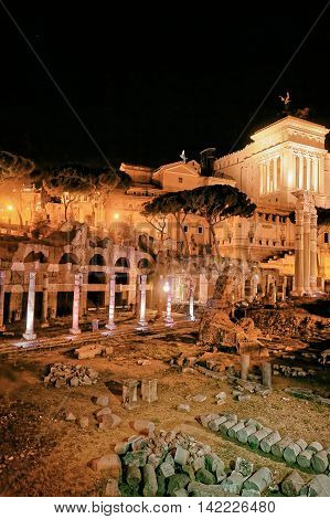 Roman Forum In Rome In Italy Late At Night