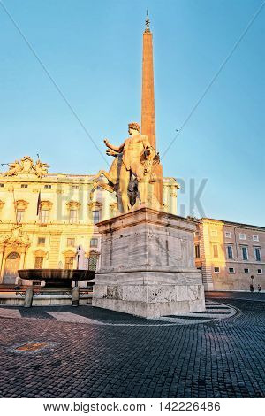 Roman Obelisk At Quirinale Palace In Rome In Italy