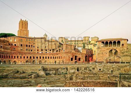 Ruins Of Roman Forum In Rome In Italy