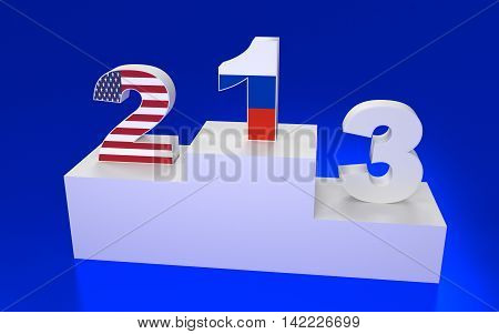 Award Platform With Numbers And Flags. 3D Rendering.