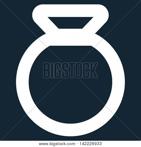 Sack vector icon. Style is stroke flat icon symbol, white color, dark blue background.