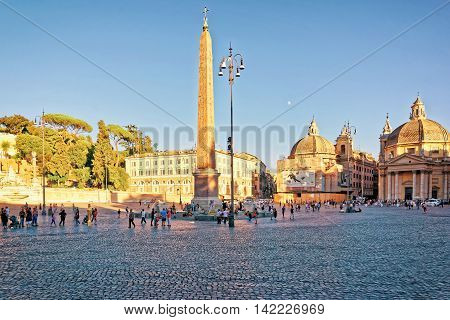 Tourists At Piazza Del Popolo In Rome In Italy