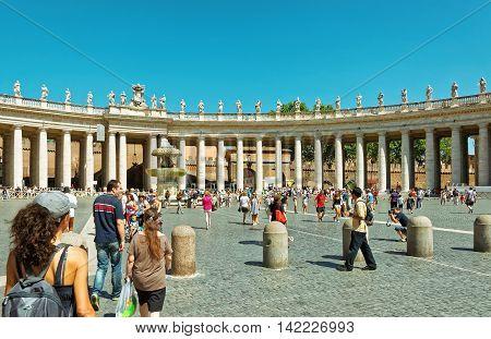 Tourists At Saint Peter Square In Vatican Of Italy