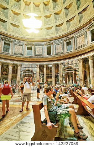 Tourists In Pantheon In Rome In Italy