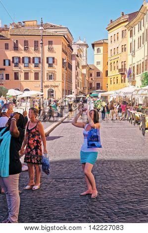Tourists In Piazza Navona In Rome In Italy
