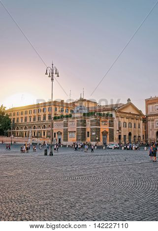Tourists On Piazza Del Popolo In Rome In Italy
