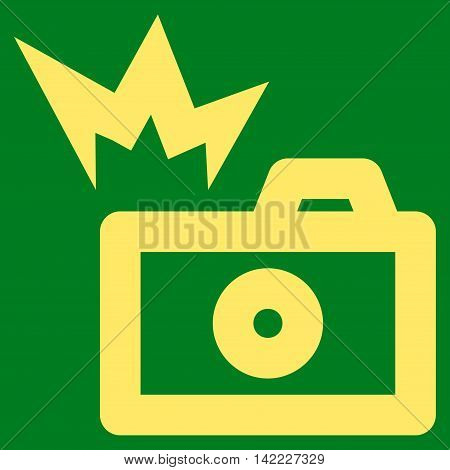 Camera Flash vector icon. Style is outline flat icon symbol, yellow color, green background.