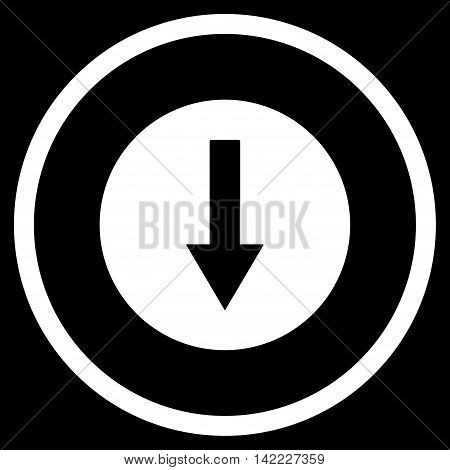 Down Rounded Arrow vector icon. Style is flat rounded iconic symbol, down rounded arrow icon is drawn with white color on a black background.