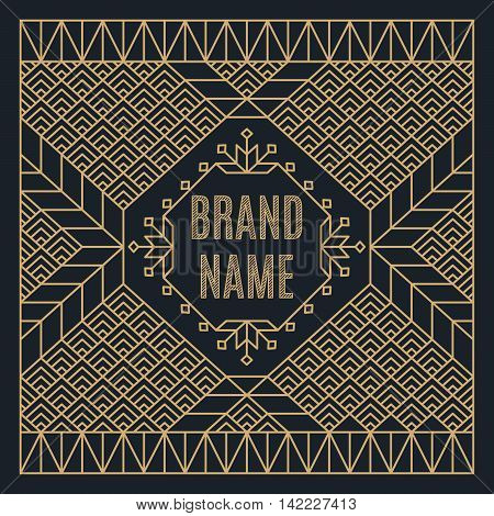 Art deco design template for vintage logo, label or badge. Luxury gold linear frame. Nouveau epoch 1920's gangster era vector. Identity design for store, shop, restaurant, boutique, fashion.