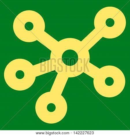 Hub Links vector icon. Style is linear flat icon symbol, yellow color, green background.