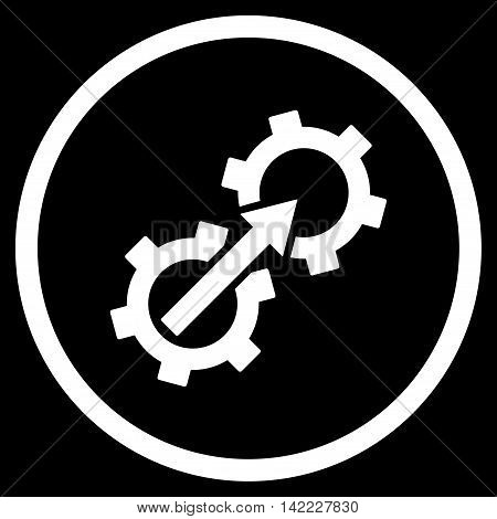 Gear Integration vector icon. Style is flat rounded iconic symbol, gear integration icon is drawn with white color on a black background.