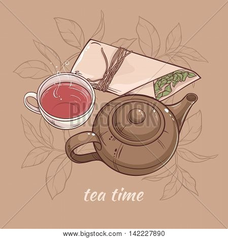 Illustration with cup of tea with teapot and dry tea on brown background