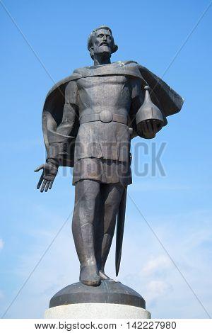 VELIKY NOVGOROD, RUSSIA - JULY 02, 2016: The Sculpture of Alexander Nevsky against the blue sky closeup. Historical landmark of the city Velikiy Novgorod