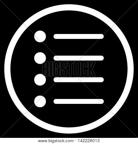 Items vector icon. Style is flat rounded iconic symbol, items icon is drawn with white color on a black background.