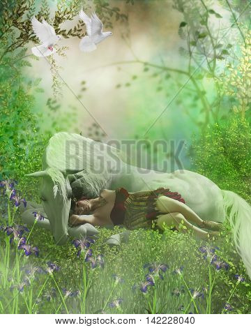 Fairy and White Unicorn 3D Illustration - A forest fairy finds a white unicorn a nice resting place for an afternoon nap as white doves fly over.