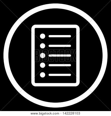 List Page vector icon. Style is flat rounded iconic symbol, list page icon is drawn with white color on a black background.