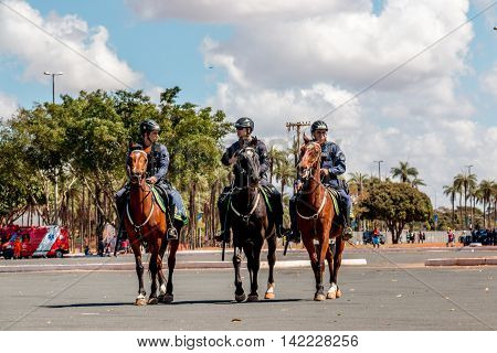 Brasilia, Brazil-August 4, 2016: Brazilian Police Officer on Horseback Patrolling Outside the Mané Garrincha Stadium for the 2016 Rio Olympic Games
