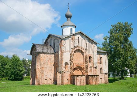 The medieval Church in honor of the patroness of the Novgorod merchants of St. Paraskeva at Yaroslav's court. Veliky Novgorod Russia