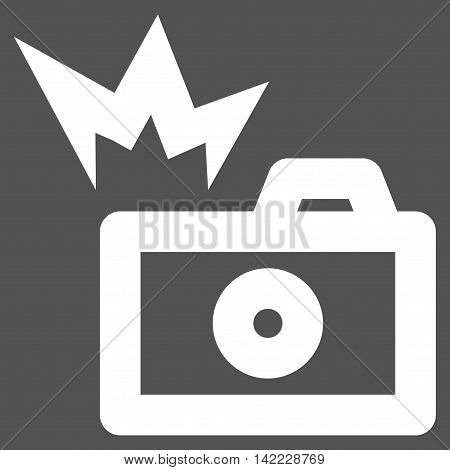 Camera Flash vector icon. Style is contour flat icon symbol, white color, gray background.