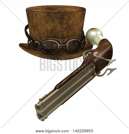 Steampunk Hat Goggles Gun 3D Illustration - A Steampunk collection of various items representing the subculture of cyberpunk.