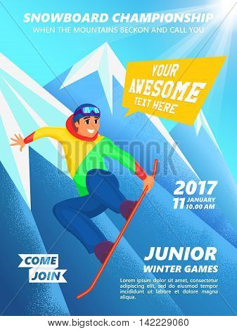 Snowboard championship event poster. Snowboarder jump. Vintage vector illustration of teenage snowboarder character on mountain background.