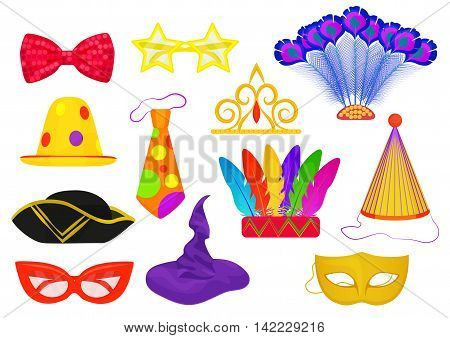 Masquerade carnival thematic party attributes flat objects set