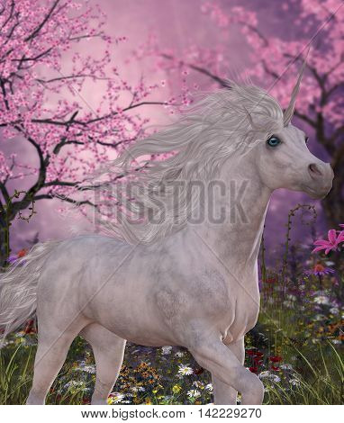 Unicorn Cherry Blossom Glen 3D Illustration - A white Unicorn mare prances through a fairy forest full of blossoming cherry trees.