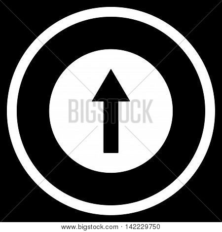 Up Rounded Arrow vector icon. Style is flat rounded iconic symbol, up rounded arrow icon is drawn with white color on a black background.