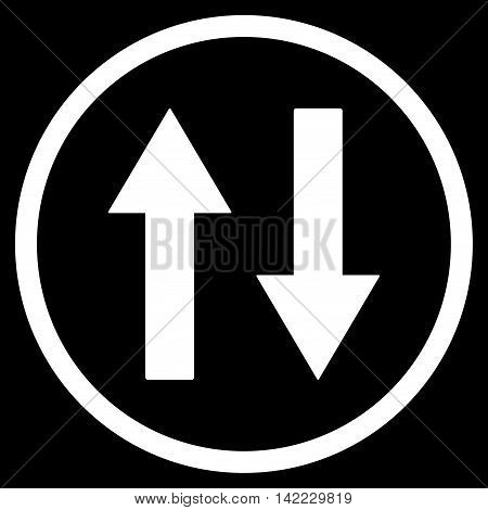 Vertical Flip Arrows vector icon. Style is flat rounded iconic symbol, vertical flip arrows icon is drawn with white color on a black background.