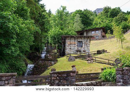 Old watermill in village Valtorta in Lombardy Italy