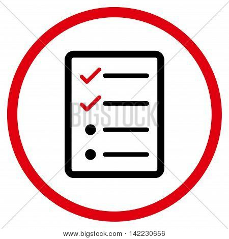 Checklist Page vector icon. Style is bicolor flat rounded iconic symbol, checklist page icon is drawn with intensive red and black colors on a white background.