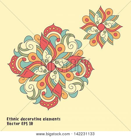 Hand drawn ornamental elements. Vintage ethnic style. Indian asian arabic islamic ottoman motif. Can be used as element for invitation greeting card. Vector illustration.