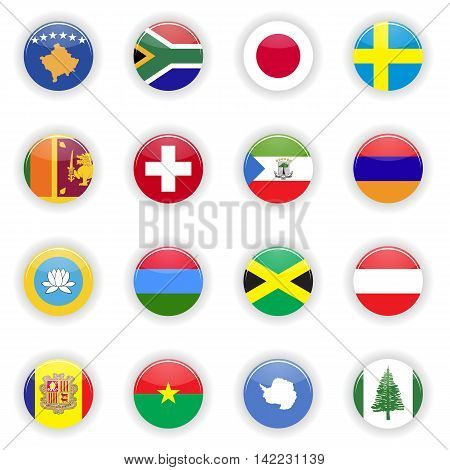 Flags set. Universal flags set to use for web and mobile UI vector illustration