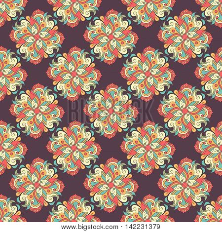 Seamless hand drawn pattern with ethnic decorative tribal elements. Vintage oriental style. Can be used as fabric paper fill page. Indian asian arabic islamic ottoman motif. Vector illustration.