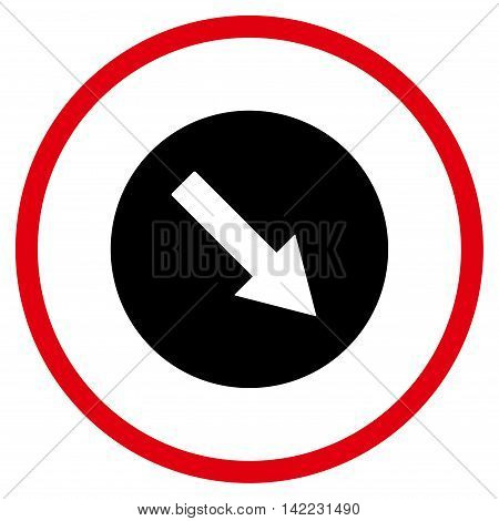 Down-Right Rounded Arrow vector icon. Style is bicolor flat rounded iconic symbol, down-right rounded arrow icon is drawn with intensive red and black colors on a white background.