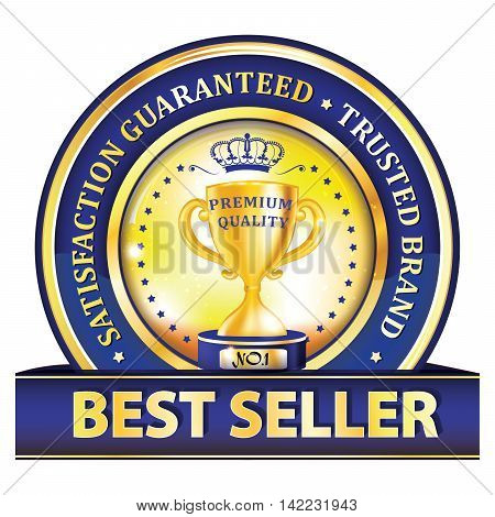 Best seller, Satisfaction guaranteed. Trusted Brand - blue button / label with golden cup. Print colors used