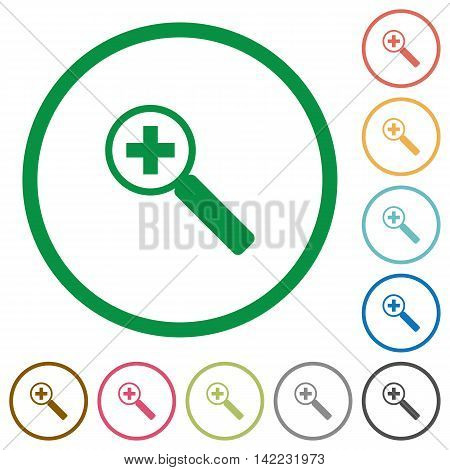 Set of zoom in color round outlined flat icons on white background
