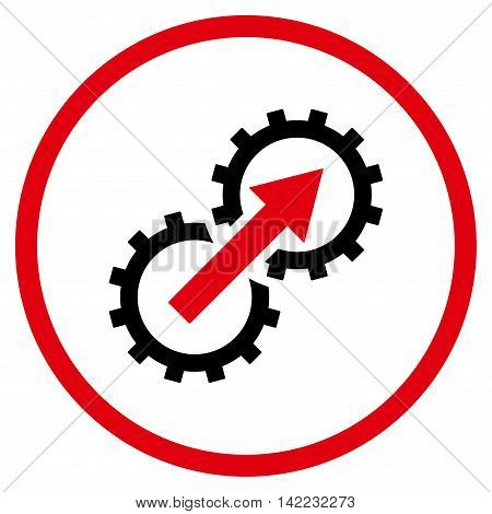 Gear Integration vector icon. Style is bicolor flat rounded iconic symbol, gear integration icon is drawn with intensive red and black colors on a white background.