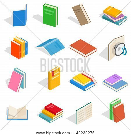 Isometric book icons set. Universal book icons to use for web and mobile UI, set of basic book elements isolated vector illustration
